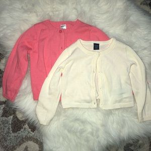 2 Girls 12-18M button up sweaters Pink Cream Gap